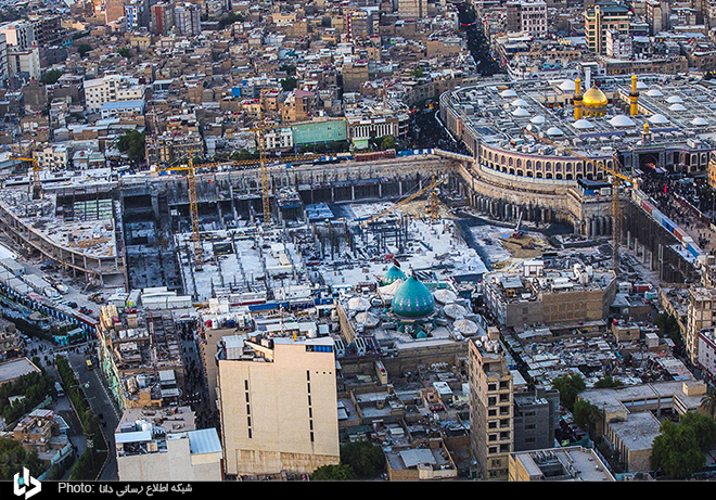 Aerial Photos: Construction process of Lady Zaynab (S.A) courtyard in Karbala