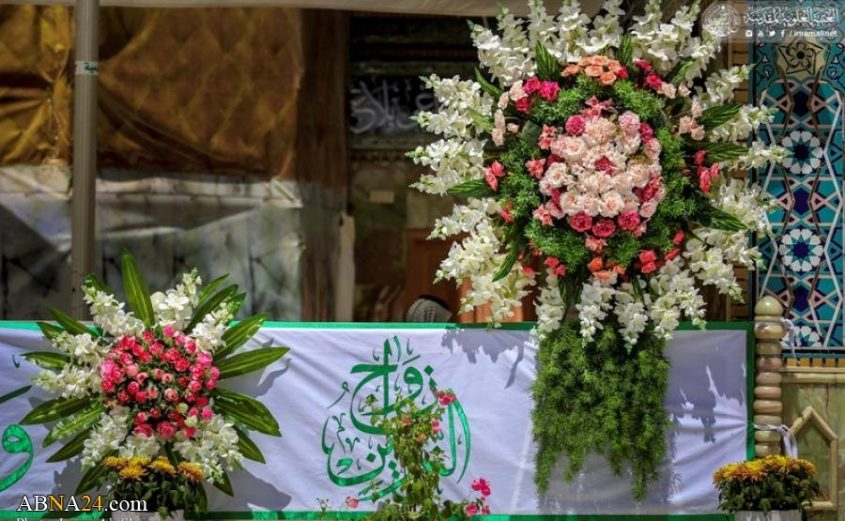 Photos: Decorating Imam Ali's (A.S) holy shrine with flowers on the occasion of marriage anniversary of Imam Ali (AS) & Lady Fatimah (SA)